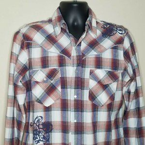 Vintage Ely Cattleman Snap Button Western Rodeo Shirt Size Medium D32